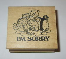 I'm Sorry Rubber Stamp Crying Cat Teddy Bear Penguin Duck Rare Wearing Boots