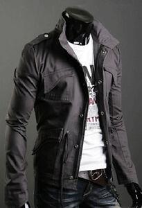 New Men Cheap Stylish Slim Winter Casual Coat Zip Jacket Warm Outwear Overcoat