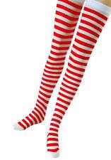 Red & White Striped Stockings Socks Christmas Elf Adult Fancy Dress