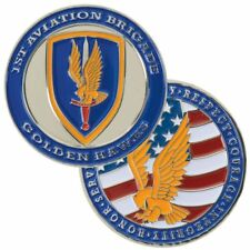 "ARMY 1ST AVIATION BRIGADE GOLDEN HAWKS MILITARY 1.75"" CHALLENGE COIN"