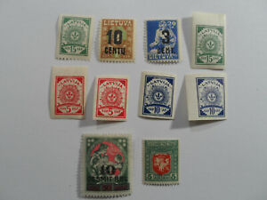 Discount Stamps : LATVIA 10 DIFFERENT MINT NEVER HINGED OVPT + NORMAL STAMPS