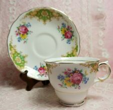 Vintage Colclough Fine Bone China Green floral, Gold gilt Tea Cup and Saucer set