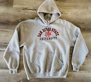 SDSU San Diego State University Size L RUSSELL Sweatshirt Hibiscus Gray Hoodie
