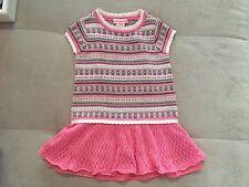 Design History Knit Baby Girl Dress 24 Month Pink Beige Super Cutie
