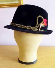 Vintage Black Mallory Fedora Homburg Hat Size 7 1/8 IOB Velour Fur German Hunter