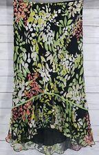 Allison Taylor Silk Skirt Sz Medium Women Multi Color Floral Hi Lo Ruffle Bow