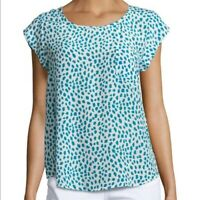 Joie Turquoise & White Silk Dot Print Rancher Cap Sleeve Top Blouse SZ L
