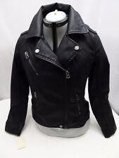 Lucky Brand Faux Vegan Leather Women's Medium Motorcycle Moto Jacket Coat Black