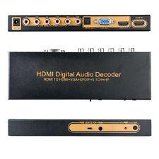 HDMI To HDMI+VGA+SPDIF +5.1CH+HP Digital Audio Decoder Converter Amplifier New