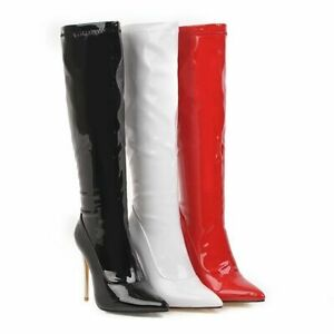 Womens Patent Leather Stiletto Heel Knee High Boots Zip Pointy Toe Shoes 34-48