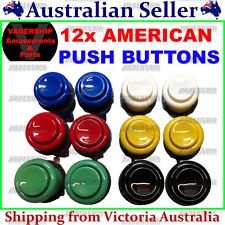 New: 12x American style Push BUTTONS, Lock nut & Micro Switch ARCADE / MAME