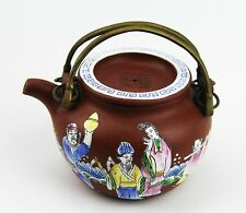 CHINESE YIXING ZISHA CLAY POTTERY ARTISTIC RED & POLY-CHROME ENAMELED TEAPOT #20