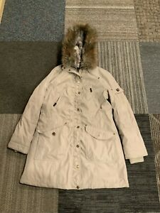 Khaki 1 Madison Expedition Long Faux Fur Womens Hooded Parka Size Large