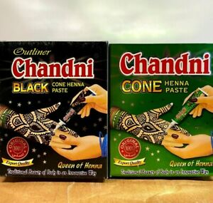 Pack of 3 Chandni Cone Henna Paste Temporary Body Art Black Red Ink Natural Tube