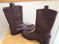Cole Haan Brown Men's Italian Leather Boots Pull On Buckle Shoes Size 10.5 $435