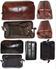 Man's grooming bag large leather cosmetic make up case new leather toiletry case