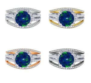 18k Gold Plated Dark Blue Fire Opal Wedding Engagement Silver Ring Set 2.35 Ct