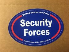 US AIR FORCE SECURITY FORCES SEYMOUR JOHNSON  N. C. Sticker - 4 3/4 Inch OVAL