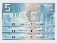 3 x Sequential 2002 $5 Canada Journey Series CH-UNC