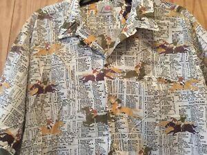 Mens Vintage Kentucky Derby Shirt Print Horse Jockey Names Odds By Ramey XL