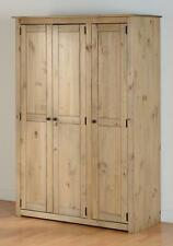 Panama 3 Door Pine Wardrobe - Panama Solid Wood Waxed 5 Shelves Hanging Rail