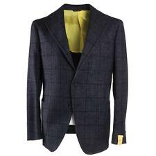NWT $1525 G.ABO NAPOLI Blue Check Wool-SilkCashmere Sport Coat Slim 42 R Gabo