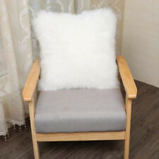 "1pcs Faux sheepskin Fur Square White Pillowcase Cushion 18""x18"" & fabric back US"