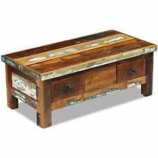 vidaXL Coffee Table Drawers Solid Reclaimed Wood Dining Meal Stand Furniture