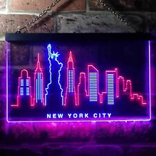 New York City Skyline Silhouette Dual Color LED Neon Sign st6-i3275