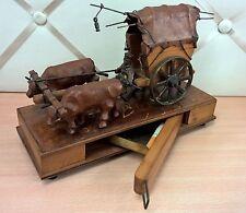 Antico carro buoi portasigarette in legno e cuoio pelle western cow boy ottone