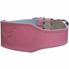 """Mytra Fusion Pink Weight Lifting Belt 4"""" Real Leather Fitness Back Support"""