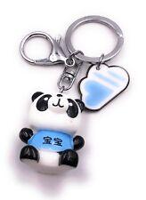 Pandabär mit Shirt blau Wolke Schriftzeichen Schlüsselanhänger Anhänger