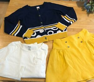 Gymboree Blue Gold Cardigan Sweater Button up with Shirt & Skirt Sz 10 Lot
