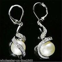 Fashion Women White Shell Pearl Dangle Crystal Earrings Silver Plated Ear stud