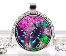 Collar De Mariposa-Colgante De Plata-chicas joyas encanto-Cristal De Vidrio Transparente