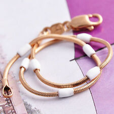 Classic Womens White Enamel 14K Real Gold Filled Lucky Snake Rope Chain Bracelet