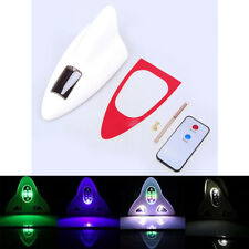 Car Solar Shark Fin Antenna Remote Control LED Roof Warning Light White FM/AM