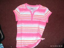 justice - girls size 8   striped henley top--pinks-- nwt