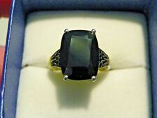 Black Spinel ring in Platinum over Sterling Silver 12.14 cts size 8