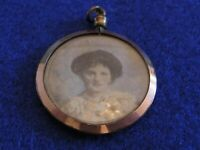 Antique gold coloured Photo pendant Mother Child Mourning Edwardian Jewellery