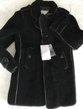 New Burberry Black Real Shearling Fur Origin Italy size 10Y Leather Trim