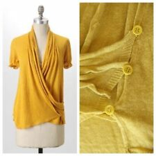 ANTHROPOLOGIE MOTH STRETCHING ACRES CARDIGAN - SMALL MUSTARD