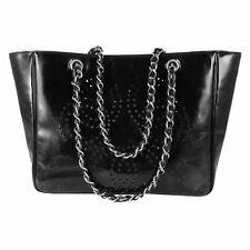 Chanel Black Patent Perforated CC Logo Shopper Tote Bag