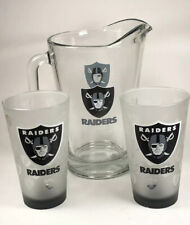 Raiders 64oz Beer Pitcher & 2 Satin Etch Pint Glasses Nfl Bar Man-Cave Glassware