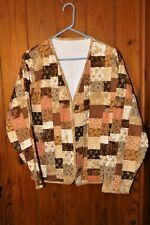 Handmade Quilted Jacket Brown Peach Cream See Measurements for Size