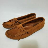 Minnetonka Womens 9 Moccasin Driving Loafers Shoes Brown Suede Fringe Slip On