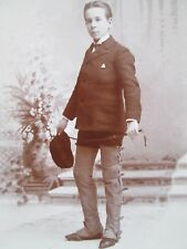 1880's Cabinet Photo Boy in Military Academy Chaps,whip and Cap- Cayuga Lake NY