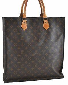 Authentic Louis Vuitton Monogram Sac Plat Hand Bag M51140 LV C7447