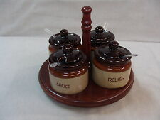 Stoneware Ceramic Condiment Set 4 Jars W/Lid on Turning Tray. 3Tone Brown Beige