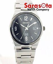 Seiko Solar SNE211 Stainless Steel 42mm Black Dial Ceramic Bezel Men's Watch